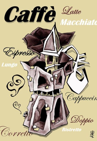 Wall Art - Digital Art - Moka Italian Coffee Art - Espresso Italy by Arte Venezia