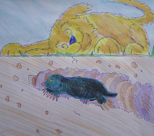 Drawing - Mole Tunnel Cartoon by Mike Jory