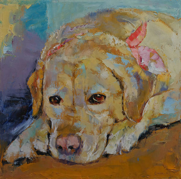Hund Wall Art - Painting - Yellow Labrador Retriever by Michael Creese