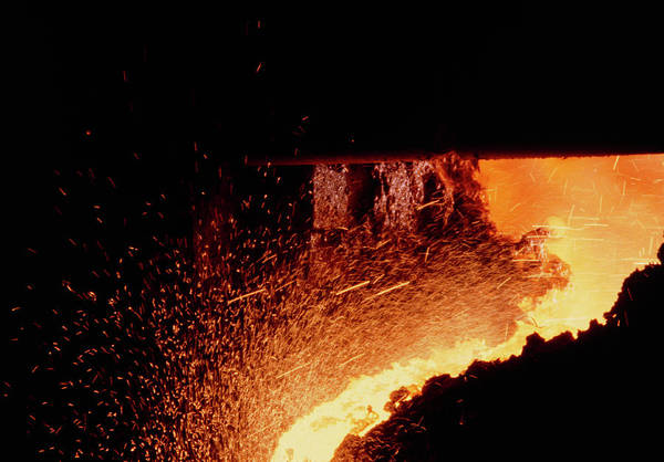 Wall Art - Photograph - Molten Iron Being Tapped From Blast Furnace by Heine Schneebeli/science Photo Library