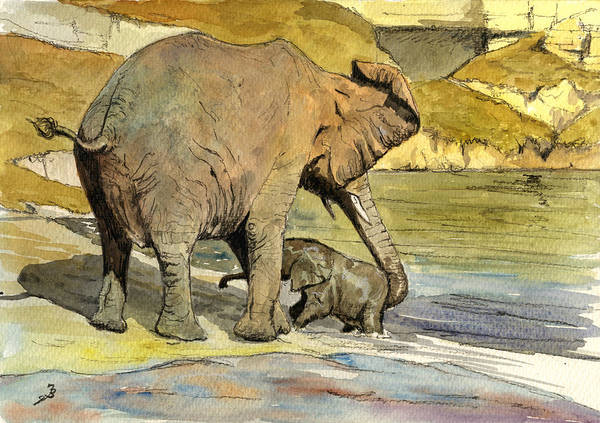 Wall Art - Painting - Mom And Cub Elephants Having A Bath by Juan  Bosco