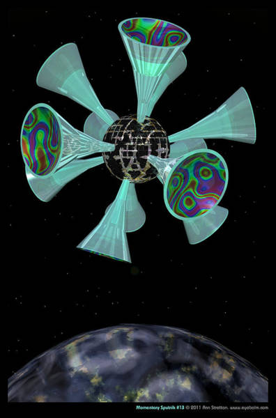 Aqua Satellite Digital Art - Momentary Sputnik 13  by Ann Stretton