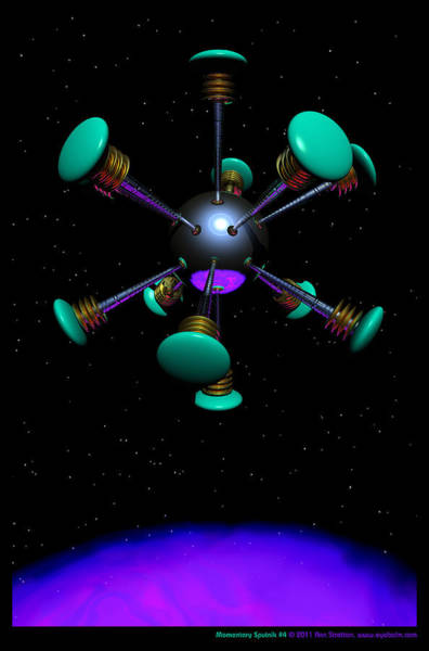 Aqua Satellite Digital Art - Momentary Sputnik 4  by Ann Stretton
