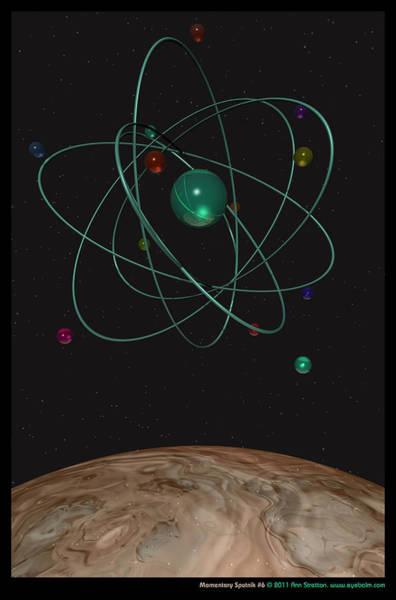 Aqua Satellite Digital Art - Momentary Sputnik 6  by Ann Stretton