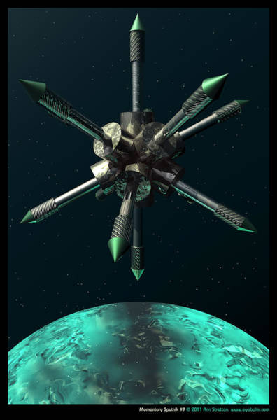 Aqua Satellite Digital Art - Momentary Sputnik 9  by Ann Stretton