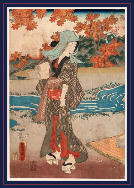 Maple Drawing - Momiji To Onna, A Woman Beneath Maple Leaves. 1854 by Utagawa, Toyokuni (1769-1825), Japanese