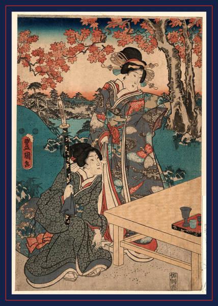 Maple Drawing - Momijigari No Himegimi by Utagawa, Toyokuni (1769-1825), Japanese