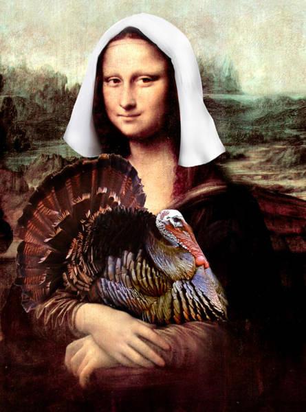 Thanksgiving Digital Art - Mona Lisa Thanksgiving Pilgrim by Gravityx9 Designs