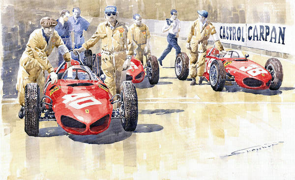 Auto Wall Art - Painting - Monaco Gp 1961 Ferrari 156 Sharknose  by Yuriy Shevchuk