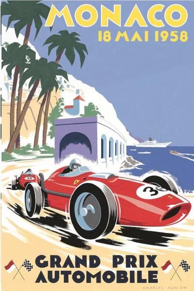 Formula 1 Digital Art - Monaco Grand Prix 1958 by Georgia Fowler