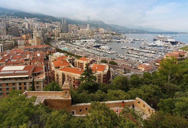 Monaco Photograph - Monaco. View From Le Rocher To La by Ken Welsh