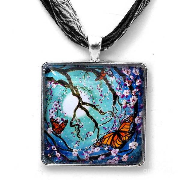 Wall Art - Jewelry - Monarch Butterflies In Teal Moonlight Handmade Pendant by Laura Iverson