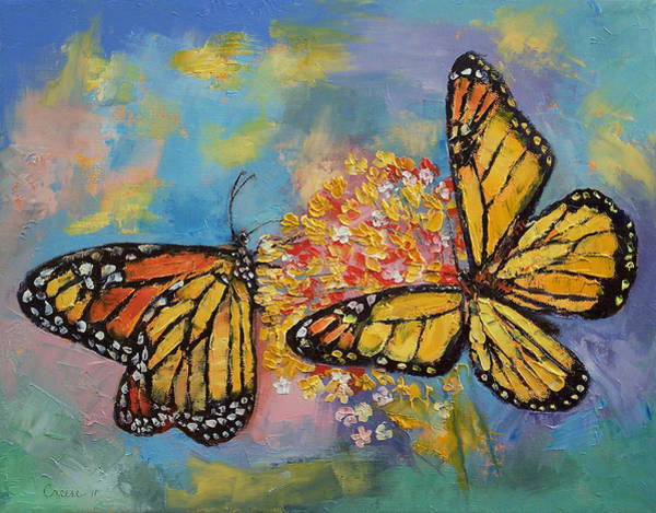 Monarch Painting - Monarch Butterflies by Michael Creese
