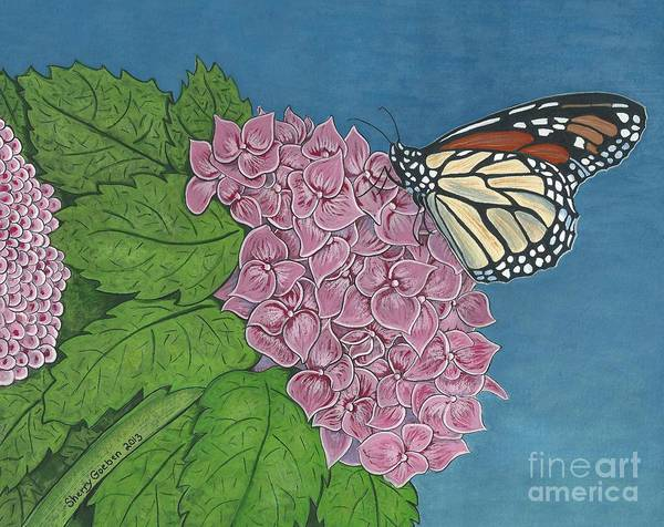 Flutterby Wall Art - Painting - Monarch Butterfly On Pink Hydrangea -- Royal Beauty by Sherry Goeben