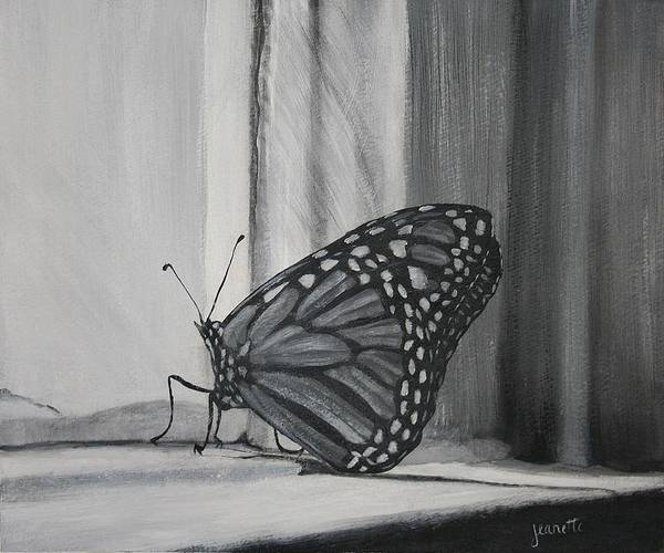 Painting - Monarch In The Window by Jeanette Fellows