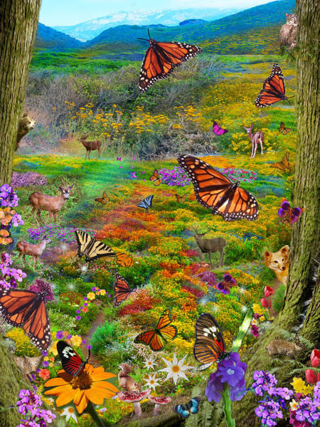 Digital Illustration Photograph - Monarch Meadow by MGL Meiklejohn Graphics Licensing