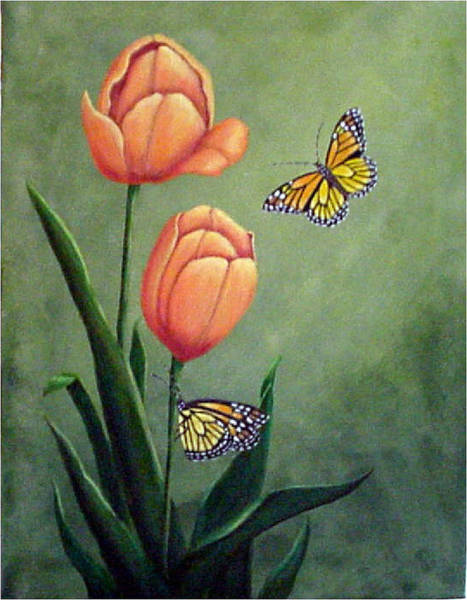 Wall Art - Painting - Monarchs And Golden Tulips by Fran Brooks