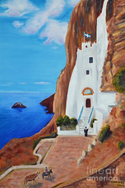 Amorgos Painting - Monastery by Nicolas Nomicos