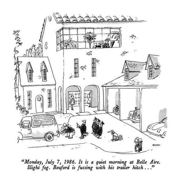 Mansion Drawing - Monday, July 7, 1986. It Is A Quiet Morning by George Booth
