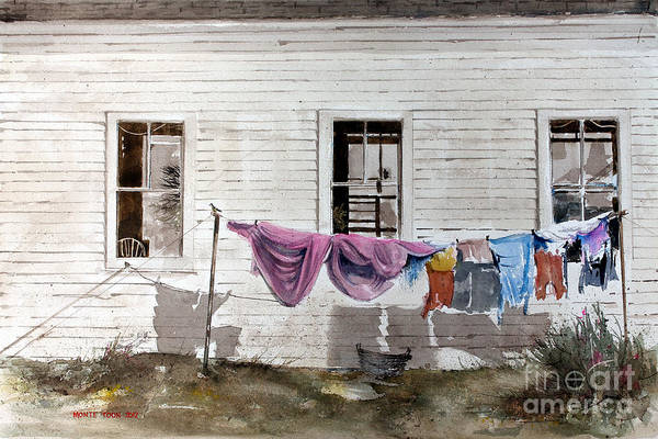 Clothesline Painting - Monday by Monte Toon