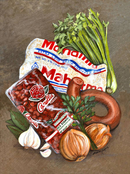 Slate Painting - Monday's Tradition - Red Beans And Rice by Elaine Hodges
