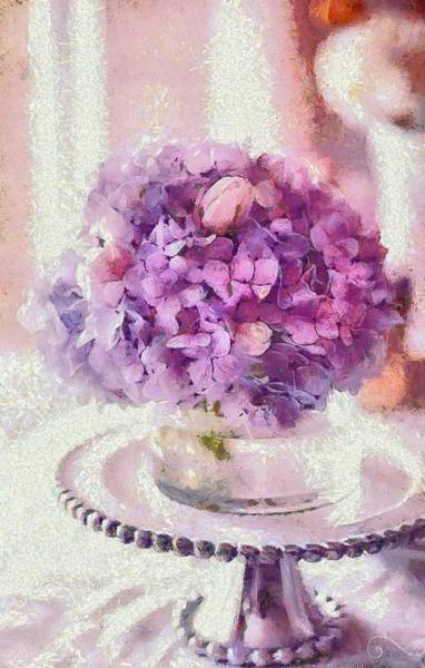Digital Art - Monet Purple Pedestal by Catherine Lott