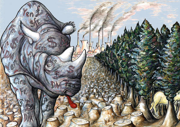 Drawing - Donald Trump - Money Against Environment - Political Cartoon by Peter Potter
