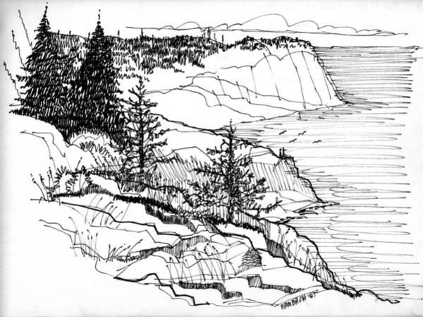 Drawing - Monhegan Cliffs 1987 by Richard Wambach