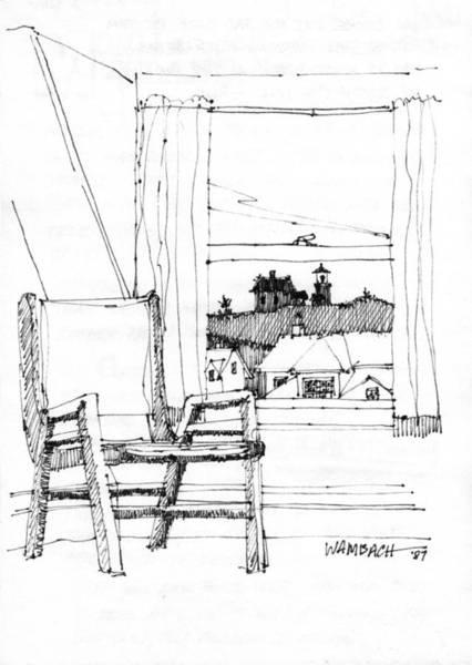 Drawing - Monhegan Dawn Island Inn by Richard Wambach