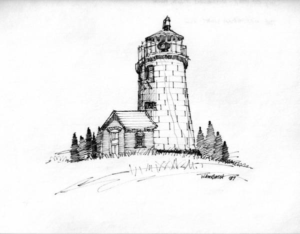 Drawing - Monhegan Lighthouse 1987 by Richard Wambach