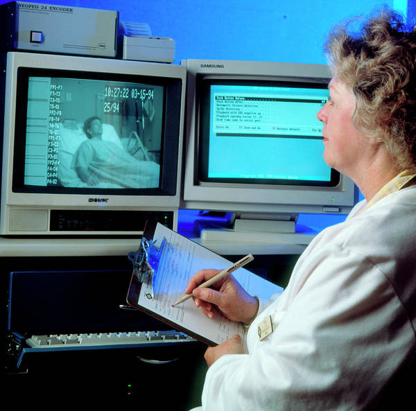 Sleep Disorder Photograph - Monitoring A Woman For Sleep Disorders by Ed Young/science Photo Library