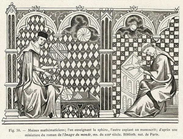 Wall Art - Drawing - Monk Copyists At Work With Globes by Mary Evans Picture Library