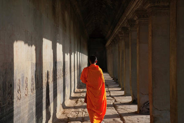 Wall Art - Photograph - Monk In Angkor Wat, Cambodia, A Unesco by Keren Su