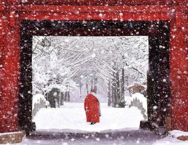 Cold Weather Wall Art - Photograph - Monk In Snowy Day by Bongok Namkoong
