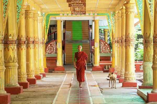 Real People Photograph - Monk, Kha Khat Wain Kyaung Monastery by Peter Adams