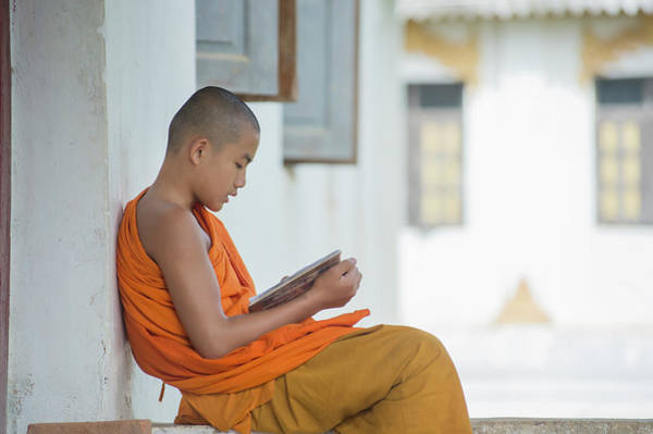 Reading Photograph - Monk Reading, Shan State, Kengtung by Cultura Rm Exclusive/yellowdog