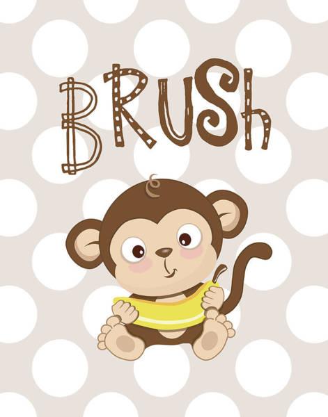 Bath Room Wall Art - Painting - Monkey Brush by Tamara Robinson