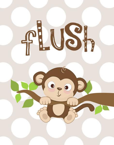 Bath Room Wall Art - Painting - Monkey Flush by Tamara Robinson