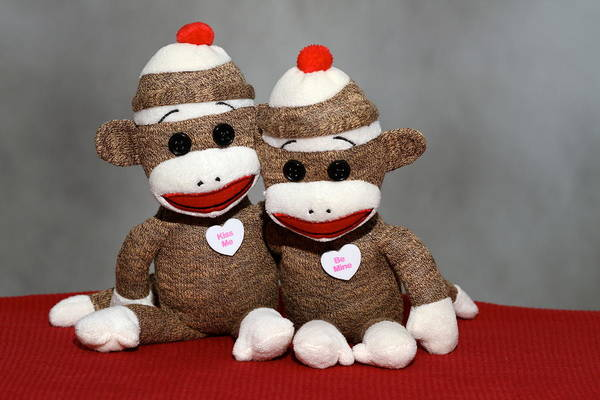 Sock Monkey Photograph - Monkey Love by Chuck Johnson