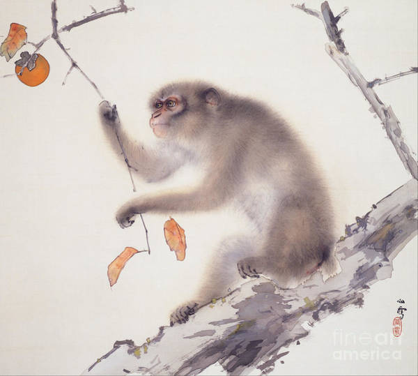 Persimmon Painting - Monkey by Pg Reproductions