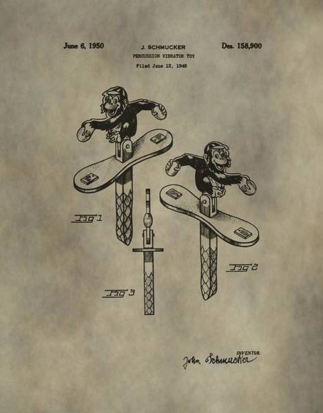 Toy Mixed Media - Monkey Toy Patent by Dan Sproul