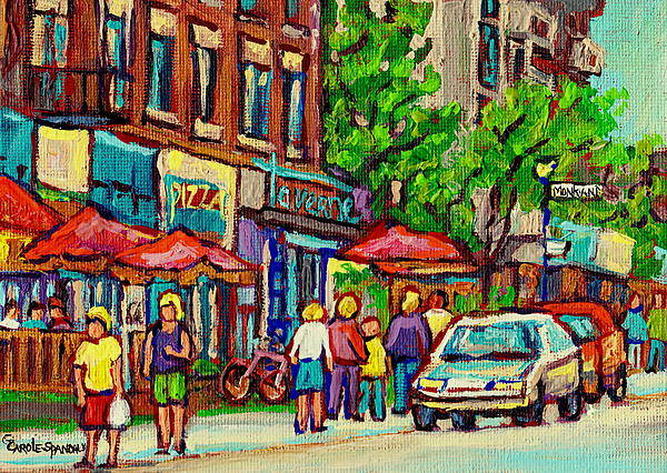 Painting - Monkland Tavern Corner Old Orchard Montreal Street Scene Painting by Carole Spandau