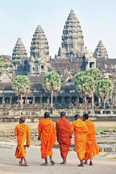 Cambodian Photograph - Monks, Angkor Wat, Cambodia by John W Banagan