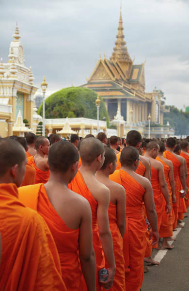 Phnom Penh Photograph - Monks In Mourning Parade For The Late by Ian Trower / Robertharding
