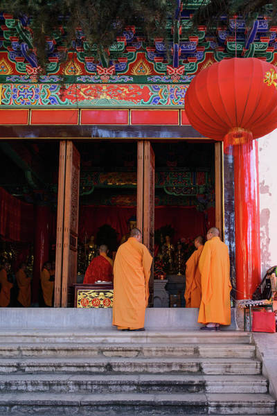 Chinese Clothing Wall Art - Photograph - Monks Standing Outside Ornate Temple by Cultura Rm Exclusive/matt Dutile