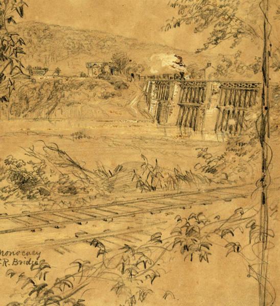 Monocacy Wall Art - Drawing - Monocacy R.r. Bridge, 1863 Ca. June-july by Quint Lox