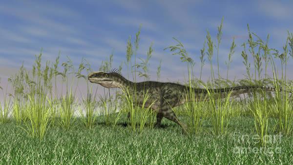Digital Art - Monolophosaurus Walking Through Tall by Kostyantyn Ivanyshen