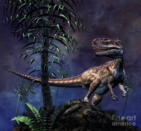 Mound Digital Art - Monolophosaurus Was A Theropod Dinosaur by Philip Brownlow