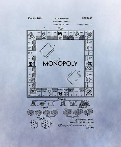 Dice Digital Art - Monopoly Board Game Patent by Dan Sproul