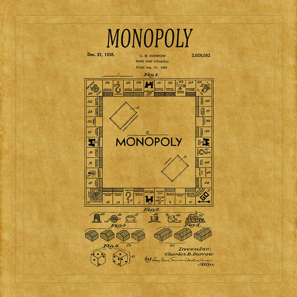 Monopoly Photograph - Monopoly Patent 1 by Andrew Fare